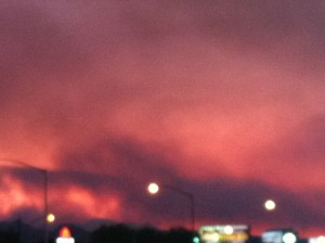 mt.charleston wildfire, red skies